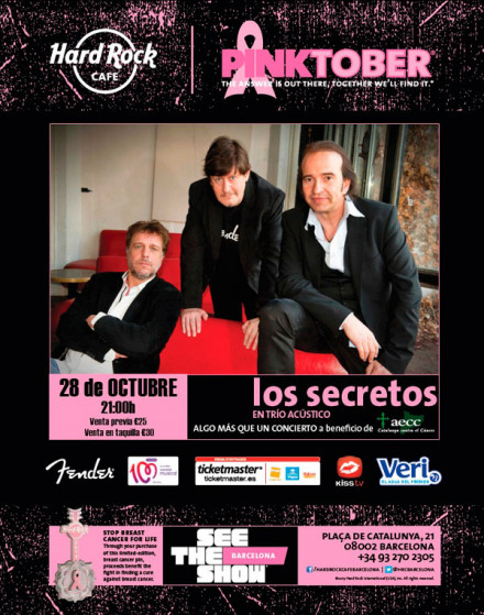 Hard Rock Cafe Barcelona presenta a LOS SECRETOS en ‪#‎Pinktober‬